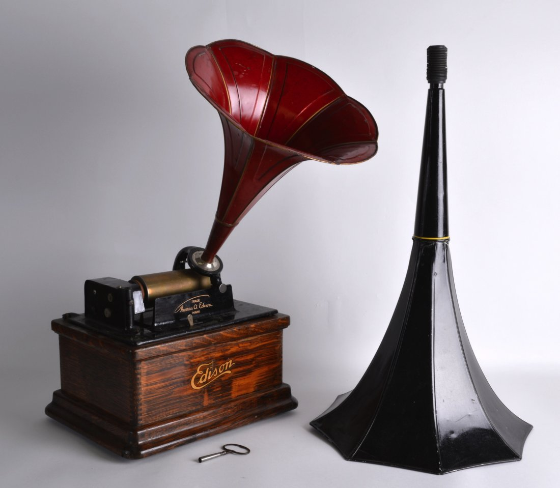 A THOMAS EDISON FIRESIDE PHONOGRAPH with tin plate red