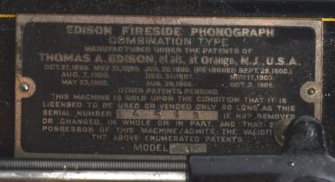 A THOMAS EDISON FIRESIDE PHONOGRAPH with tin plate red - 3