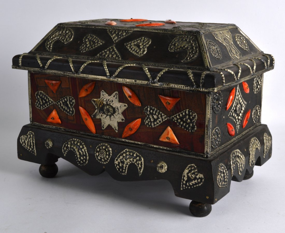 A LARGE MOROCCAN CASKET with camel bone and white metal