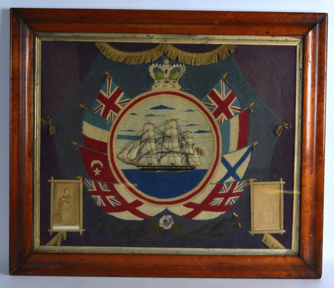 A MID 19TH CENTURY SAILORS WOOLWORK PICTURE in original