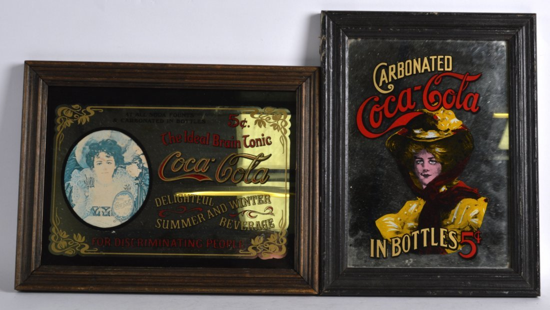 TWO VINTAGE COCA COLA ADVERTISING MIRRORS. (2)