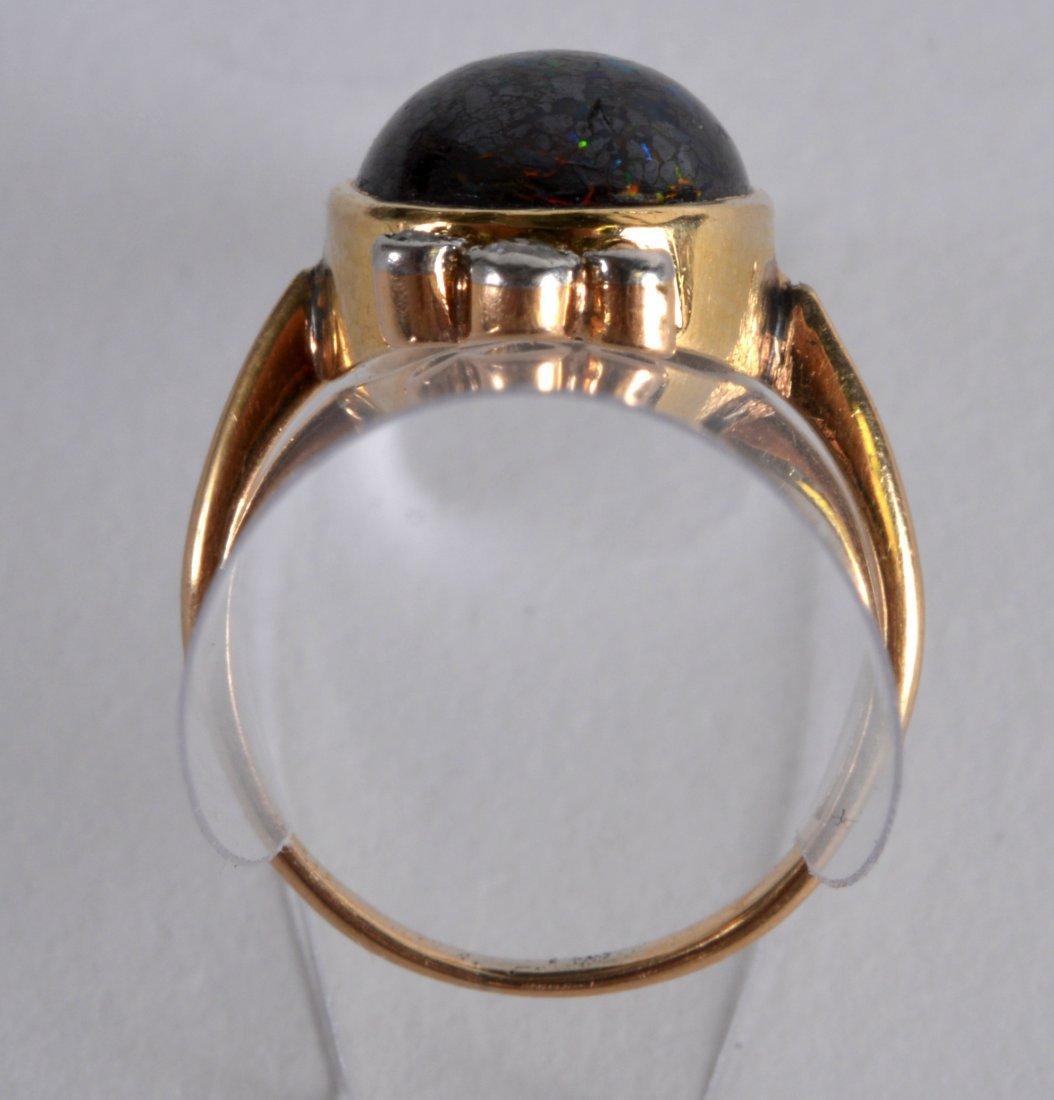 AN EDWARDIAN 9CT YELLOW GOLD OPAL AND DIAMOND LADIES - 2