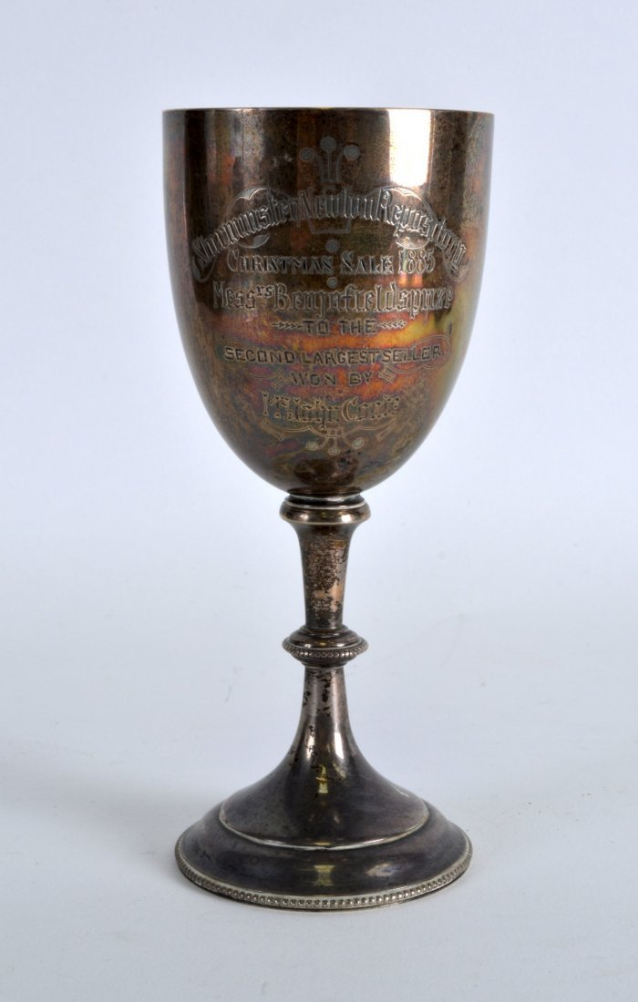 A VICTORIAN SILVER GOBLET engraved 'Christmas Sale