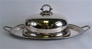 A LARGE VICTORIAN SILVER PLATED DOME COVER together