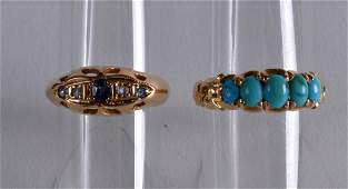 AN EDWARDIAN 18CT YELLOW GOLD AND DIAMOND RING together