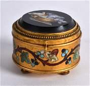 A 19TH CENTURY ITALIAN GILT METAL MICRO MOSAIC AND