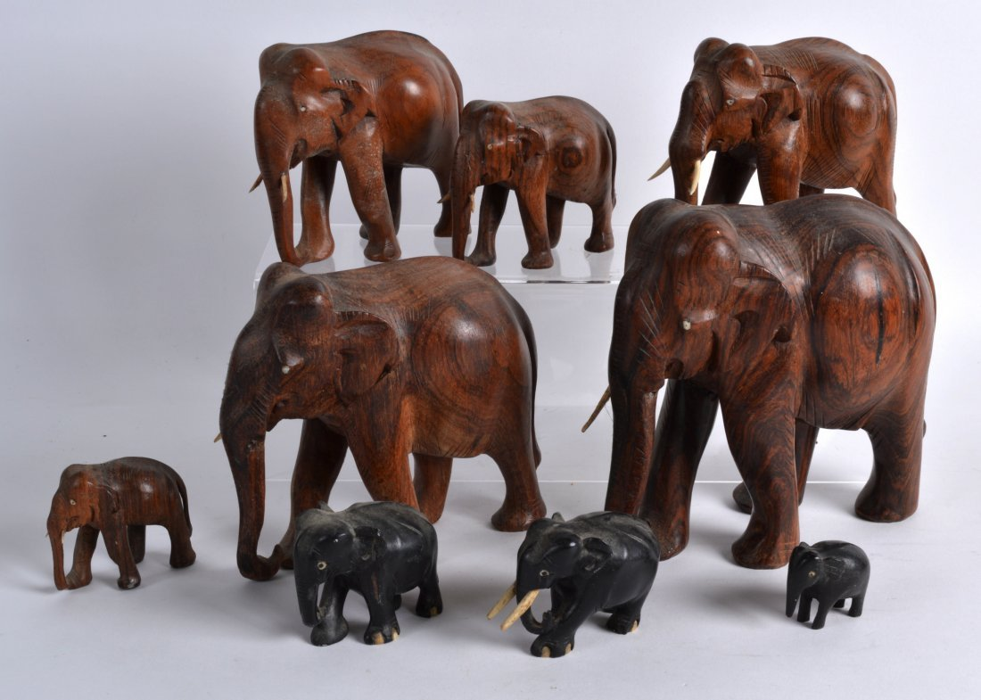 A COLLECTION OF ANGLO INDIAN HARDWOOD ELEPHANTS of