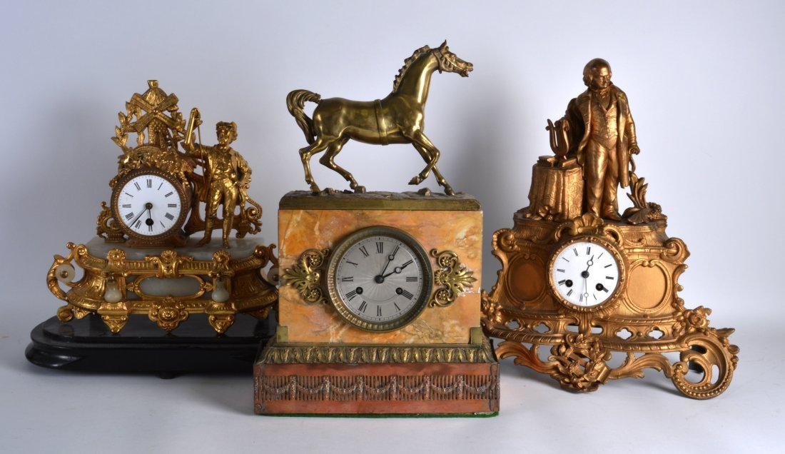A LATE 19TH CENTURY SPELTER MANTEL CLOCK together with