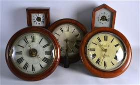 A COLLECTION OF THREE ANTIQUE WALL CLOCKS together with