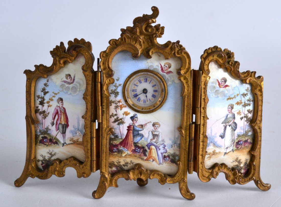 A LATE 19TH CENTURY FRENCH ORMOLU AND ENAMEL MINIATURE