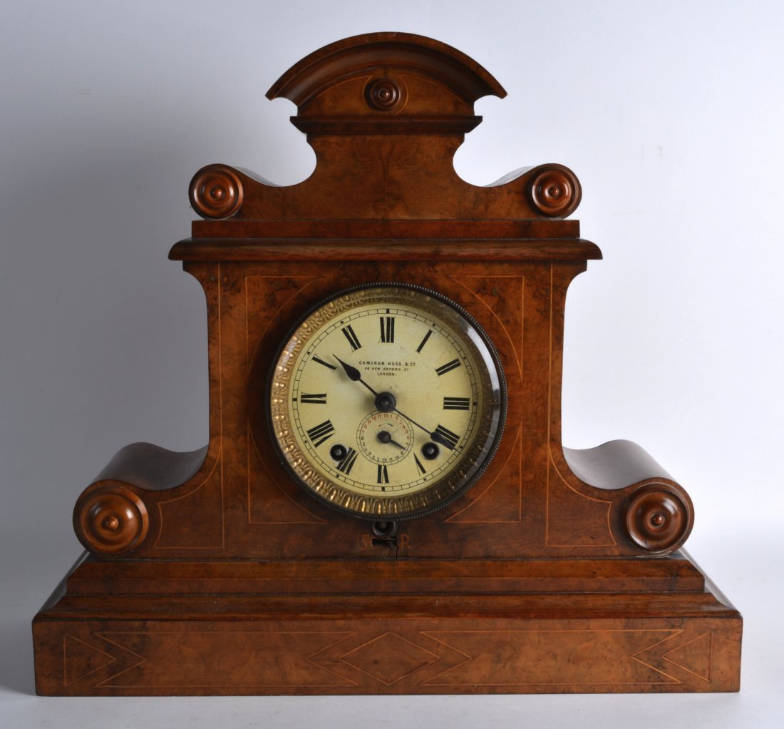 A GOOD VICTORIAN BURR WALNUT SCROLLING MANTEL CLOCK the
