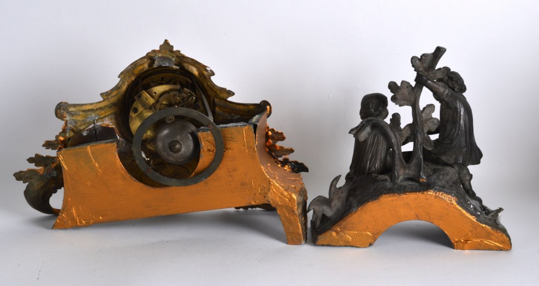 A 19TH CENTURY FRENCH SPELTER AND GILT METAL MANTEL - 2