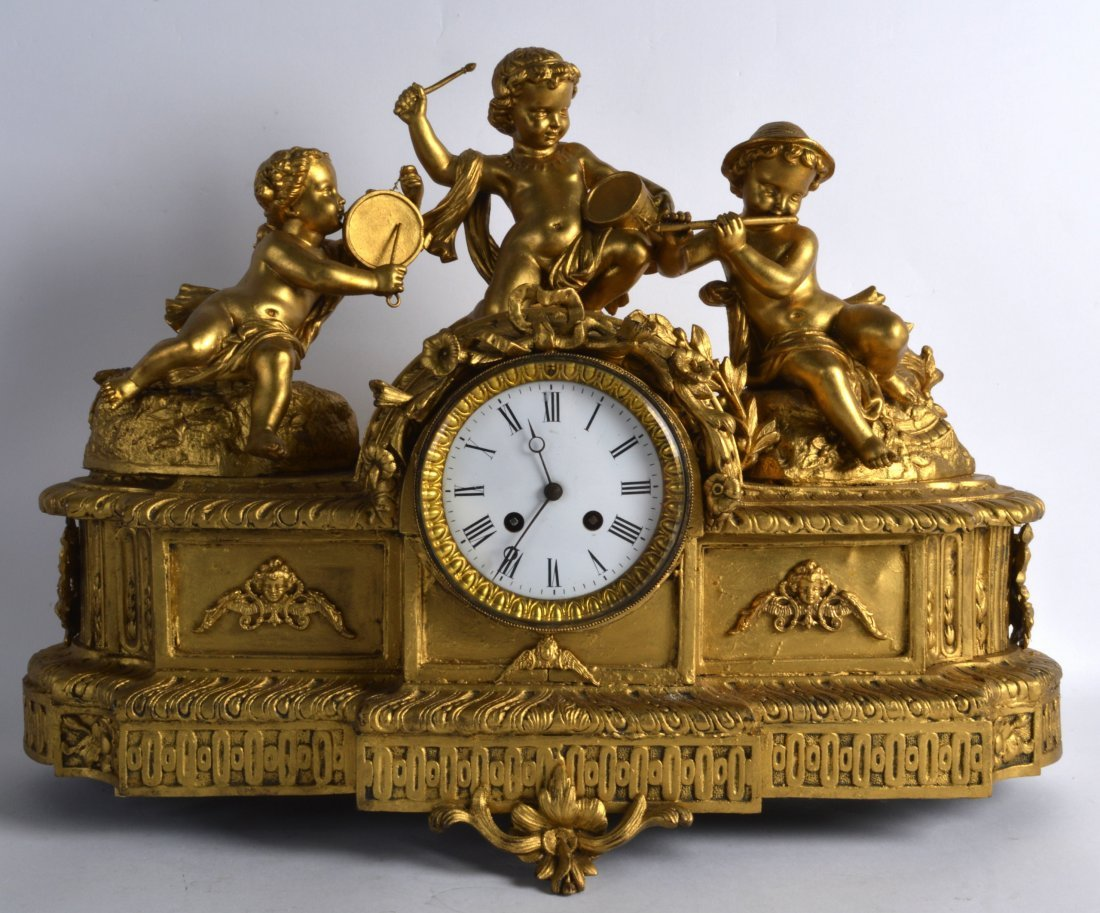 A LARGE 19TH CENTURY FRENCH GILT SPELTER MANTEL CLOCK