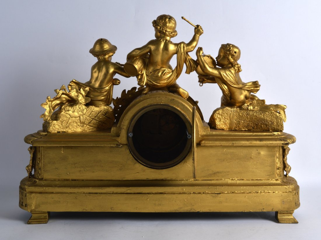 A LARGE 19TH CENTURY FRENCH GILT SPELTER MANTEL CLOCK - 2