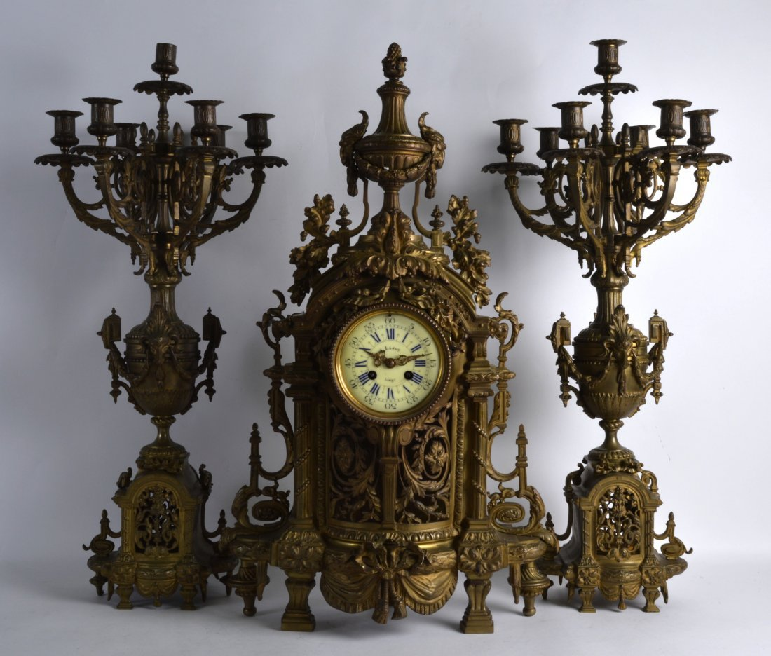A HUGE 19TH CENTURY FRENCH BRONZE CLOCK GARNITURE the
