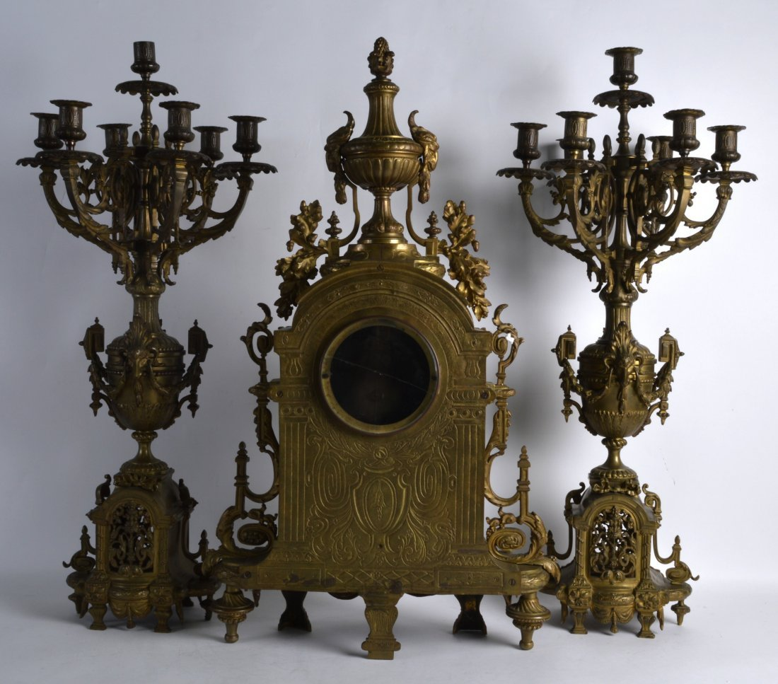 A HUGE 19TH CENTURY FRENCH BRONZE CLOCK GARNITURE the - 2
