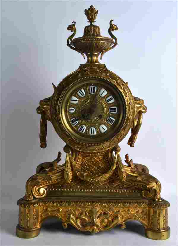 A LARGE 19TH CENTURY FRENCH BRONZE MANTEL CLOCK with
