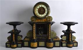 A LARGE 19TH CENTURY FRENCH ONYX AND BLACK MARBLE CLOCK