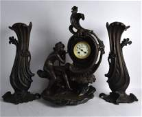 A LARGE FRENCH ART NOUVEAU SPELTER CLOCK GARNITURE the