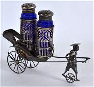 A LATE 19TH CENTURY CHINESE EXPORT SILVER CONDIMENT SET