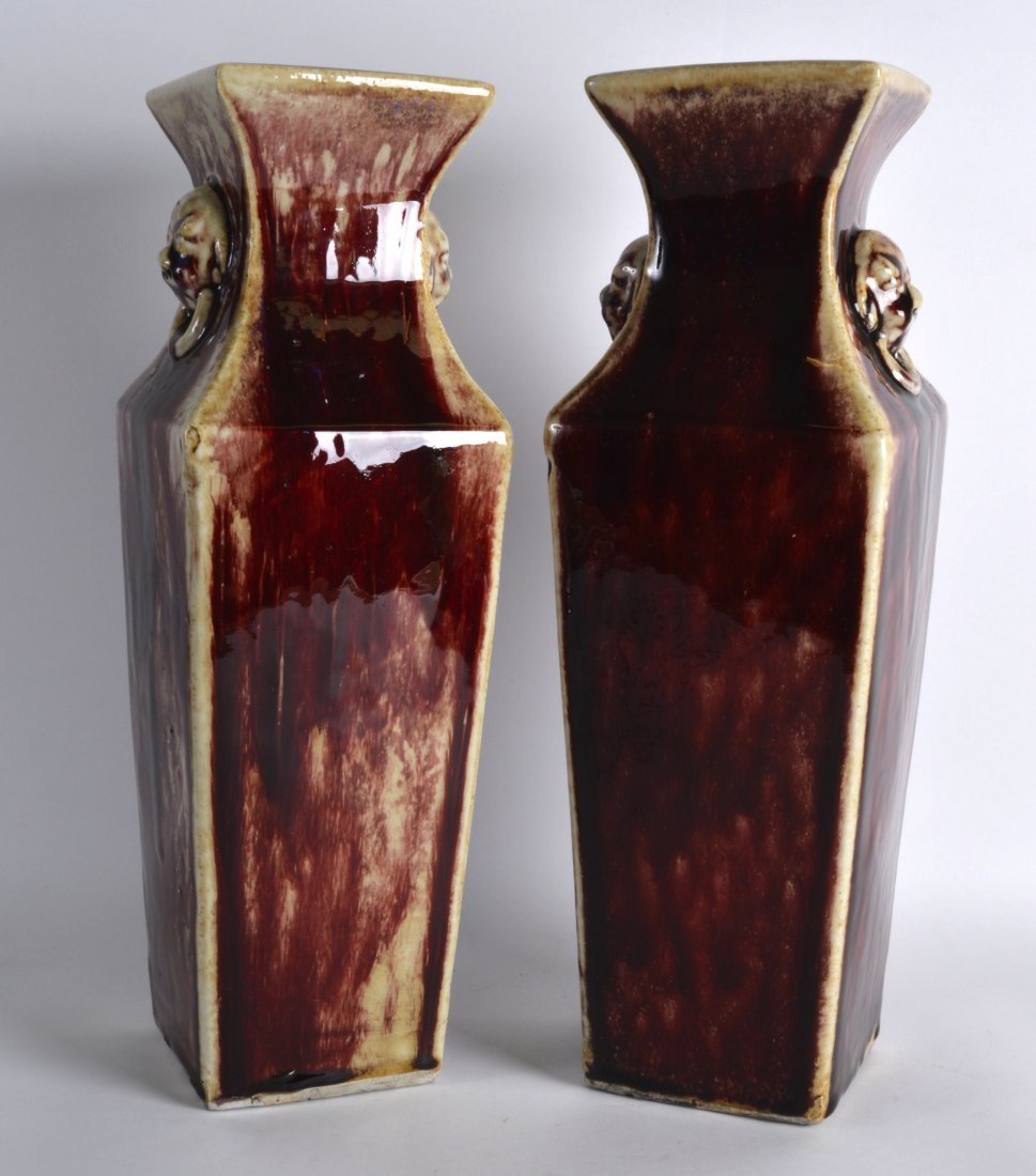 A PAIR OF LATE 19TH/20TH CENTURY CHINESE FLAMBE GLAZED