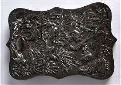 A LATE 19TH CENTURY CHINESE EXPORT SILVER CARD CASE AND