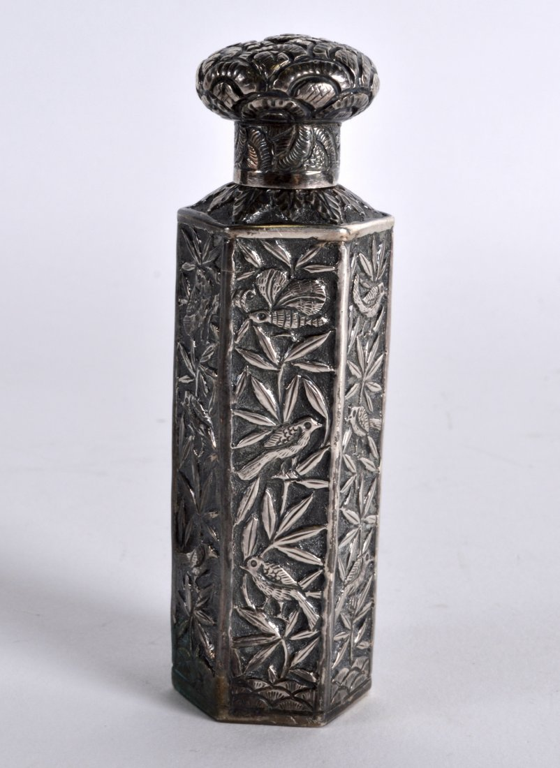 A LATE 19TH CENTURY CHINESE EXPORT HEXAGONAL SILVER