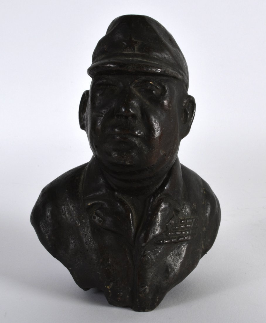 A CHINESE BRONZED BUST OF A COMMUNIST GENERAL modelled