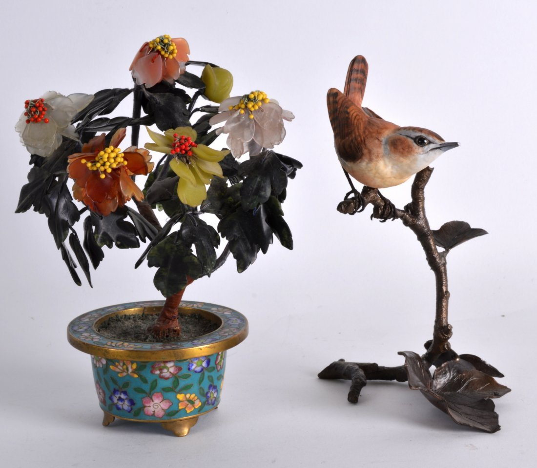 A CHINESE CLOISONNE ENAMEL BONZAI TREE together with a