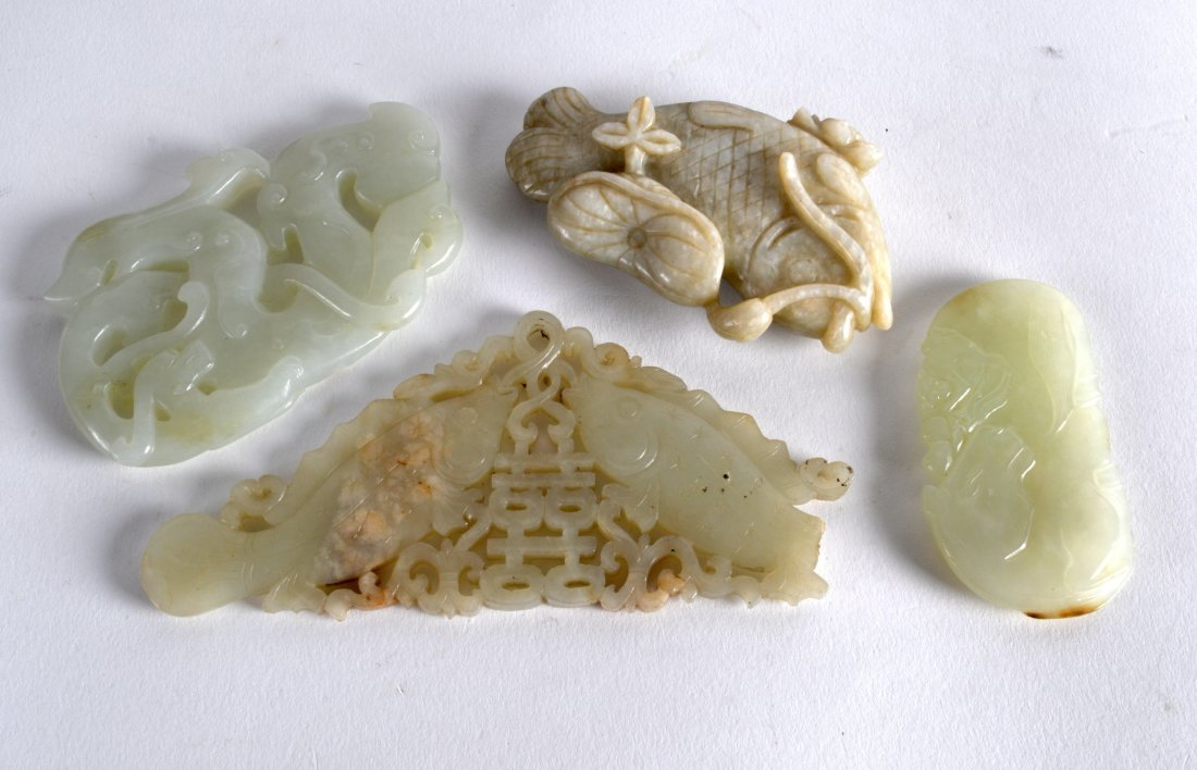 A 19TH CENTURY CHINESE CARVED JADE PLAQUE OF TWO FISH