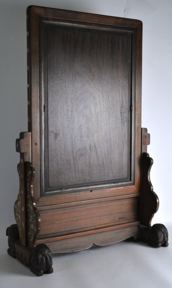 A 19TH CENTURY CHINESE CARVED HONGMU MIRROR ON STAND - 2