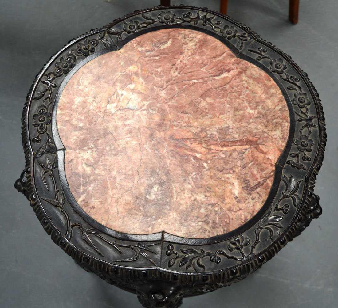 A LARGE 19TH CENTURY CHINESE CARVED HARDWOOD AND MARBLE - 2