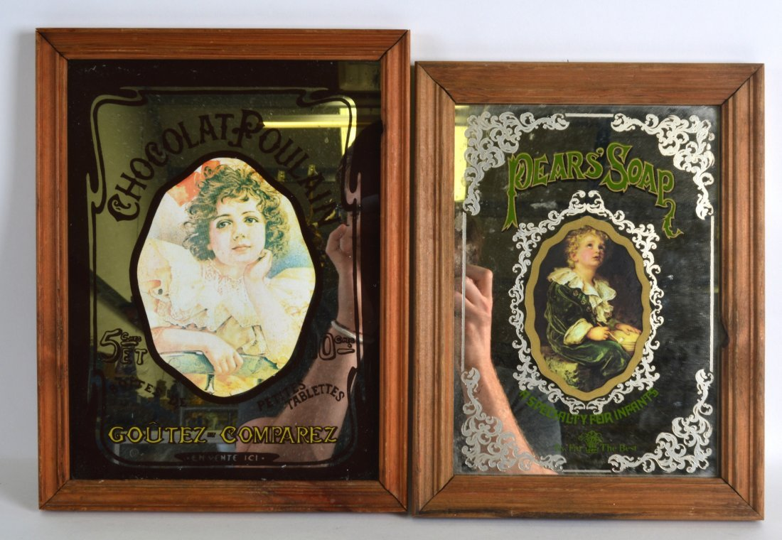 A VINTAGE PEARS SOAP ADVERTISING MIRROR together with a