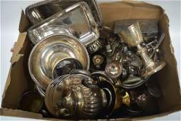 A LARGE COLLECTION OF ANTIQUE SILVER PLATE together