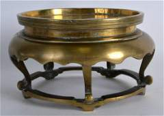 A RARE 18TH/19TH CENTURY CHINESE BRONZE CENSER STAND