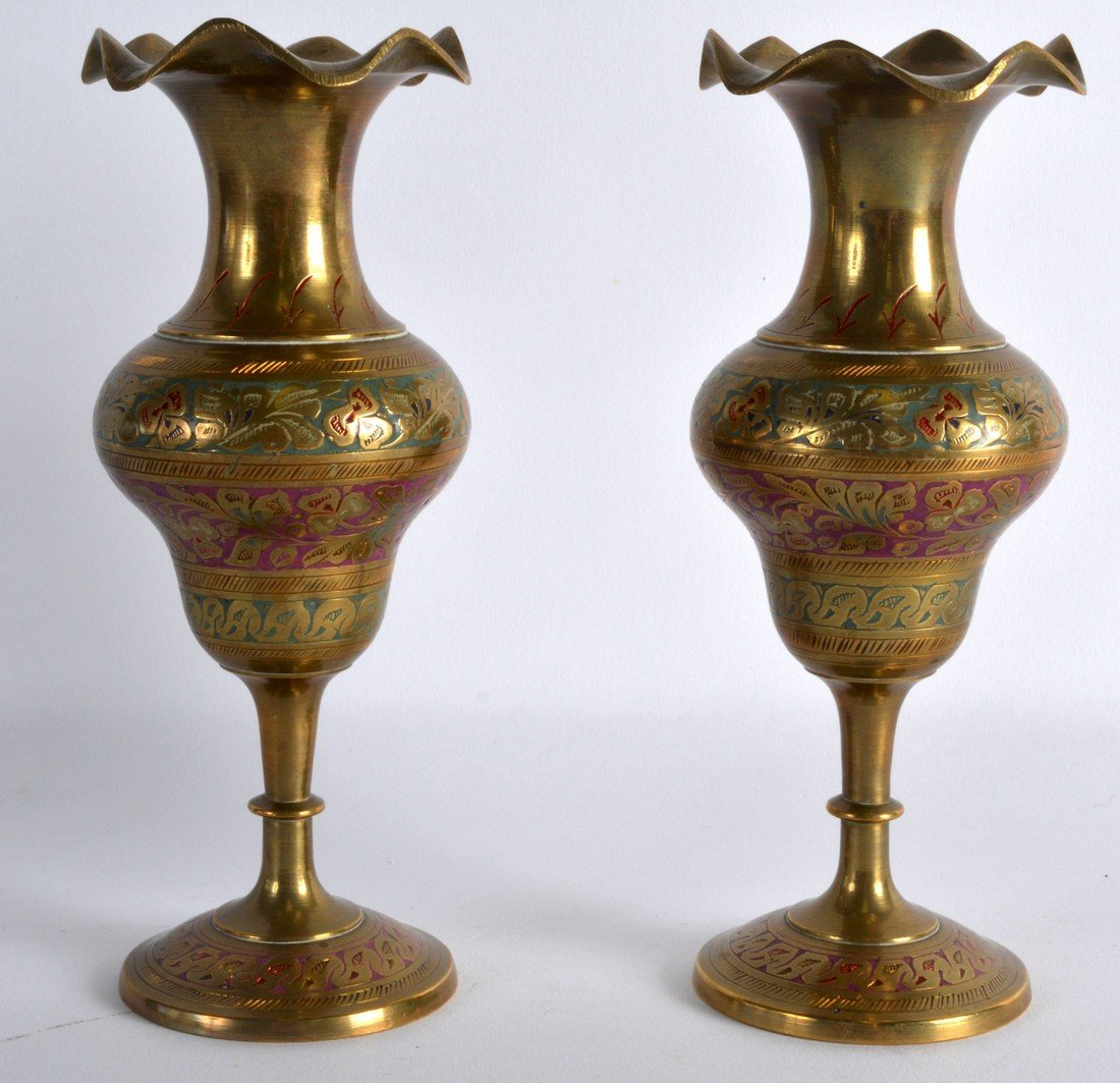 A PAIR OF INDIAN ENAMELLED BRASS VASES decorated with