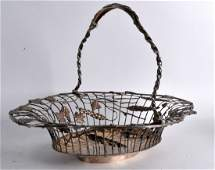 A GOOD MID VICTORIAN SILVER SWING HANDLED BASKET