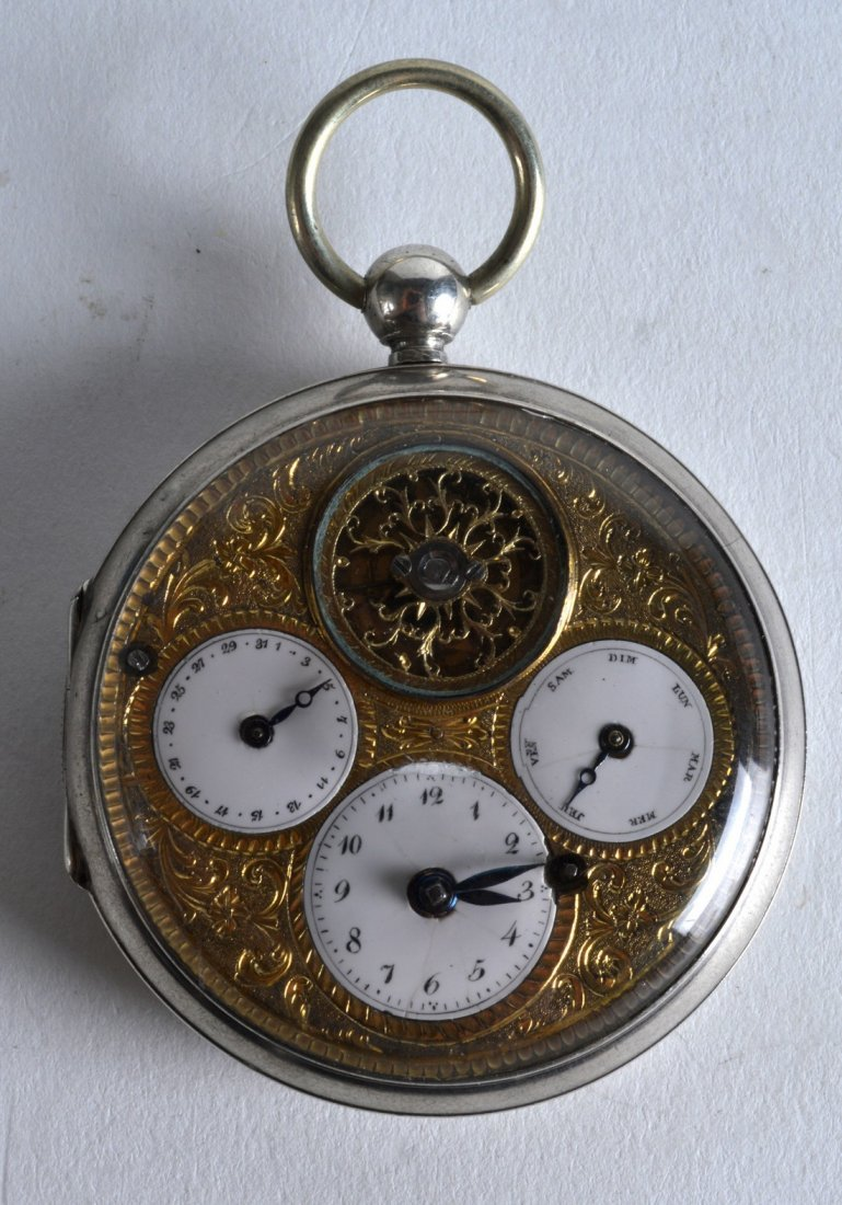A MID 19TH CENTURY FRENCH SILVER MULTI DIAL FULL HUNTER