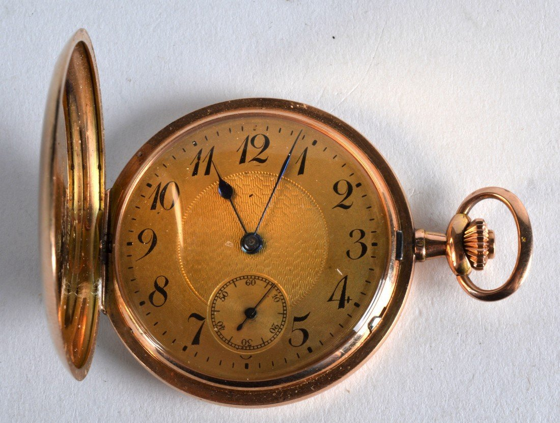 A LATE 19TH CENTURY 14CT YELLOW GOLD GENTLEMANS POCKET