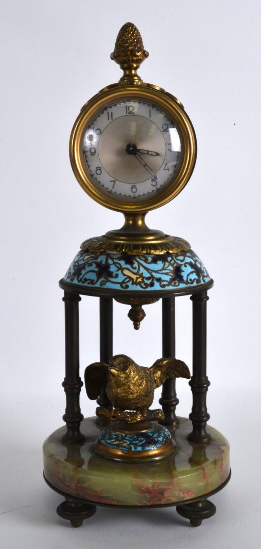 A LATE 19TH CENTURY FRENCH CHAMPLEVE ENAMEL AND ONYX