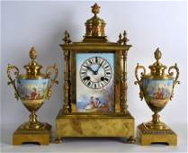 A LATE 19TH CENTURY FRENCH PORCELAIN AND GILT METAL