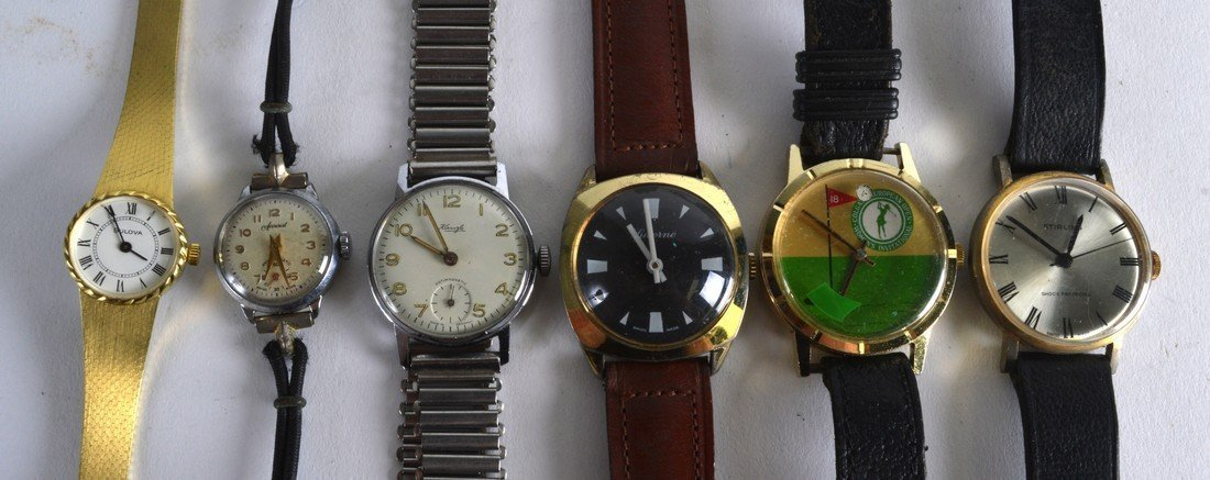A GROUP OF SIX VINTAGE WRISTWATCH including a Colgate