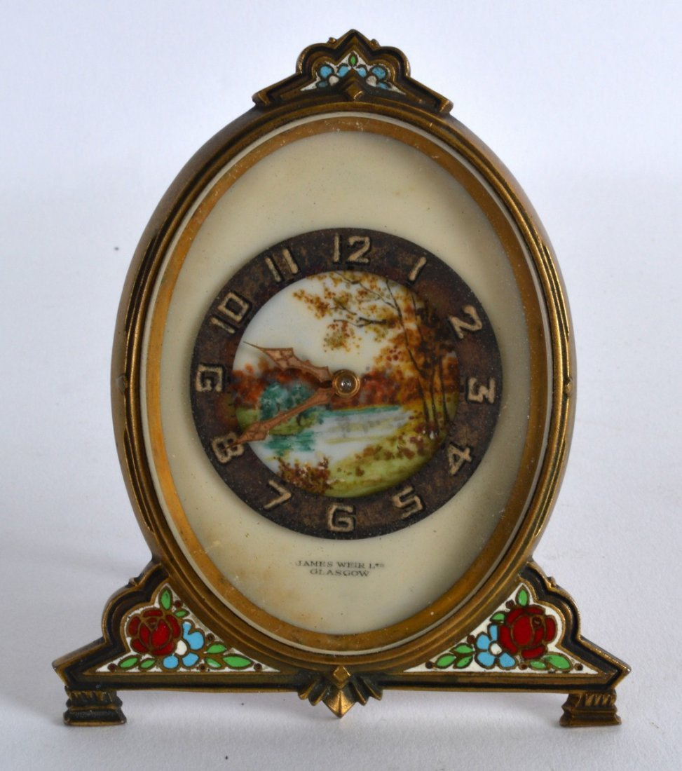 A SMALL EARLY 20TH CENTURY FRENCH CHAMPLEVE ENAMEL AND
