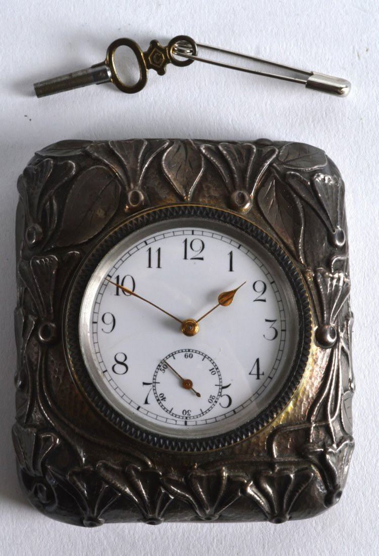 A LOVELY ART NOUVEAU SQUARE FORM SILVER CLOCK decorated