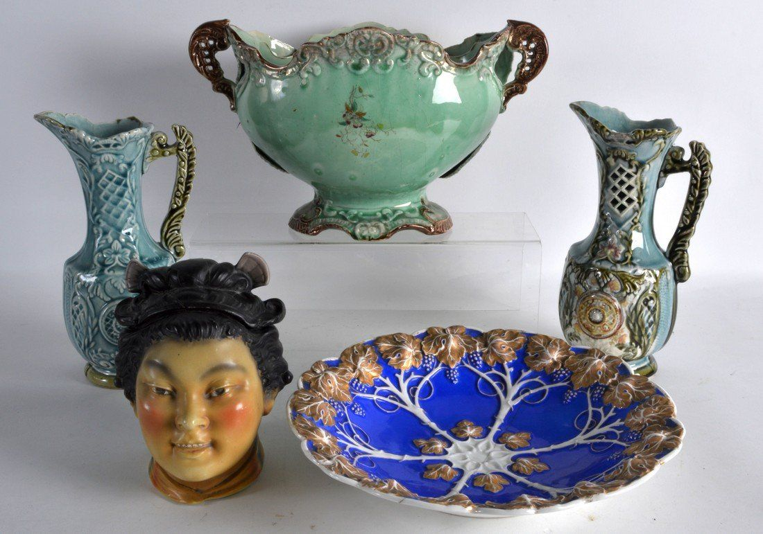 A VICTORIAN TWIN HANDLED MAJOLICA BOWL together with a
