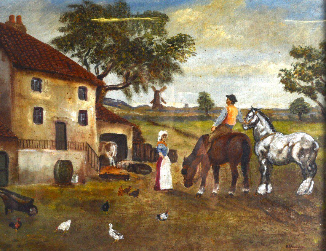 Dutch School (C1900) Oil on canvas behind glass, Folk