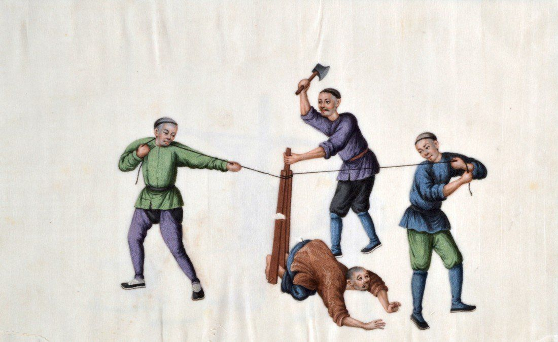 Chinese School (19th Century) Pith Paper album, Torture