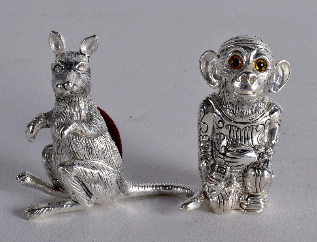 TWO SILVER PLATED MONKEY AND KANGAROO PIN CUSHIONS. (2)