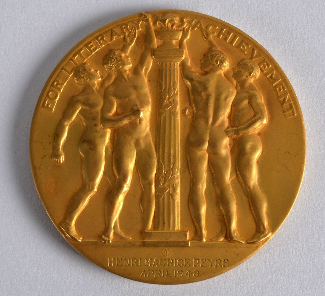 A FINE 10KT YELLOW GOLD CASED MEDALLION 'FOR LITERARY