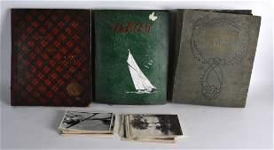GROUP OF THREE POSTCARD ALBUMS landmarks from around
